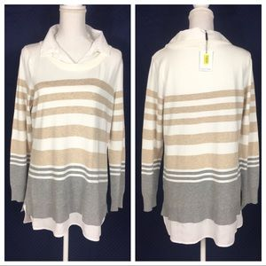 NWT Calvin Klein Striped Blouse Sweater Large